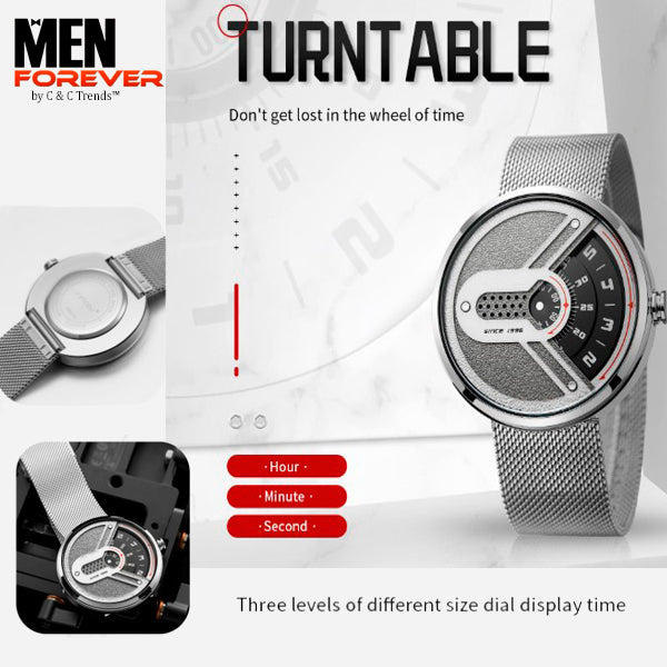 Turntable Stainless Steel Futuristic Watch 5