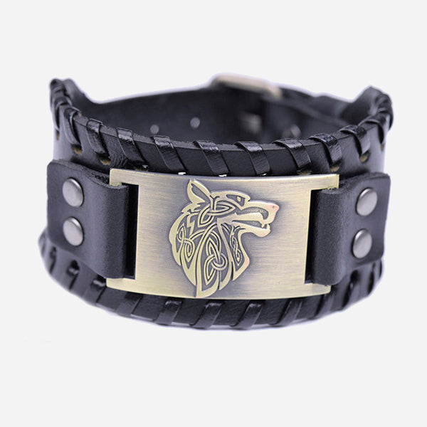 Viking Wolf Totem Leather Bracelet
