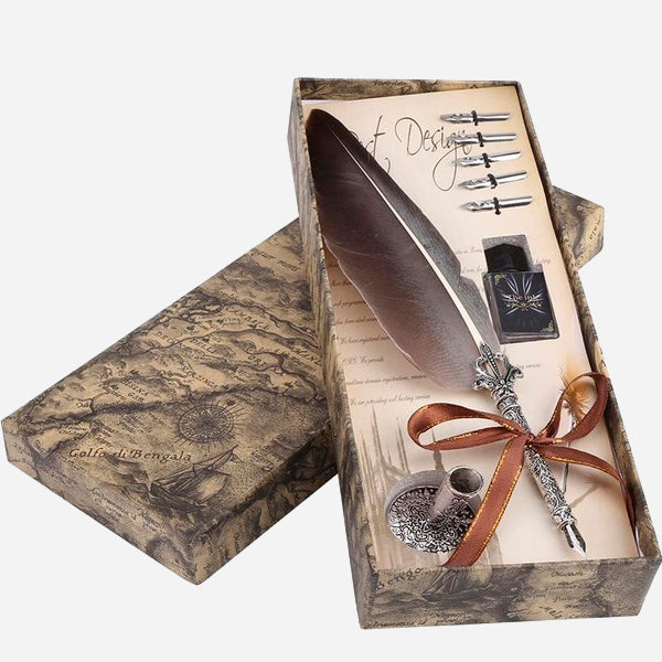 Vintage Nature Feather Writing Set