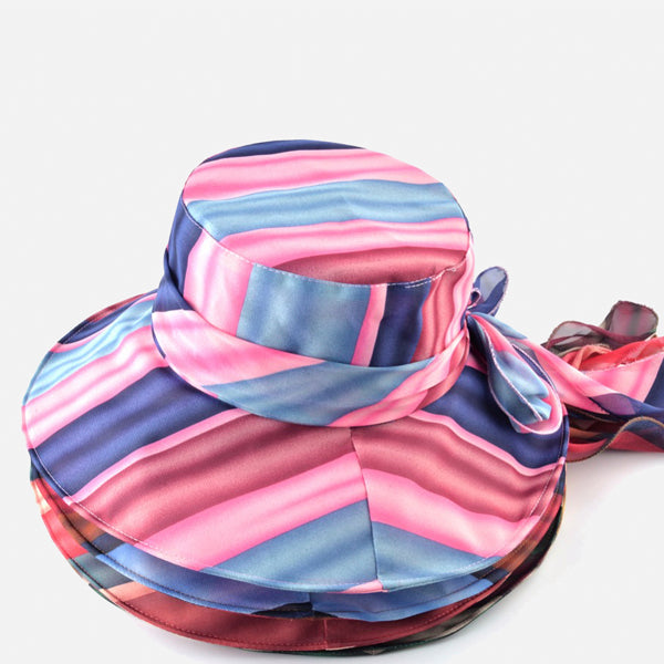 Vintage Stripe Wide Brim Women Hats