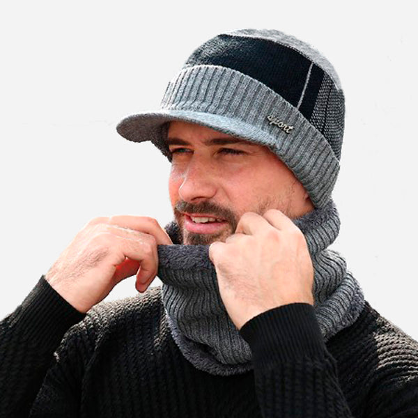 Warm Knitted Beanie & Wool Scarf Set