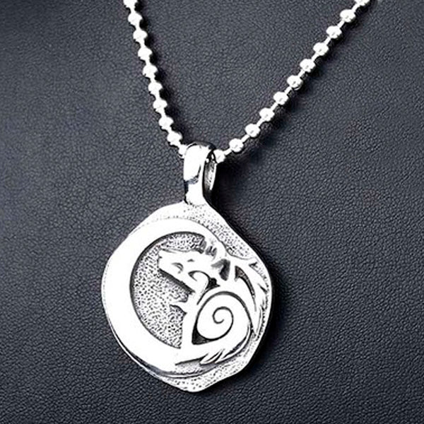 Wolf and Crow Silvered Viking Necklace