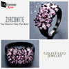 Zircon Bouquet Black Gold Filled Ring 12