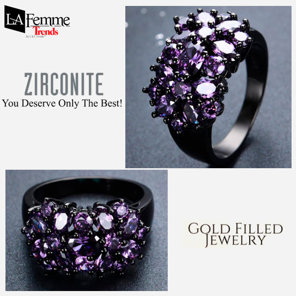 Zircon Bouquet Black Gold Filled Ring 13