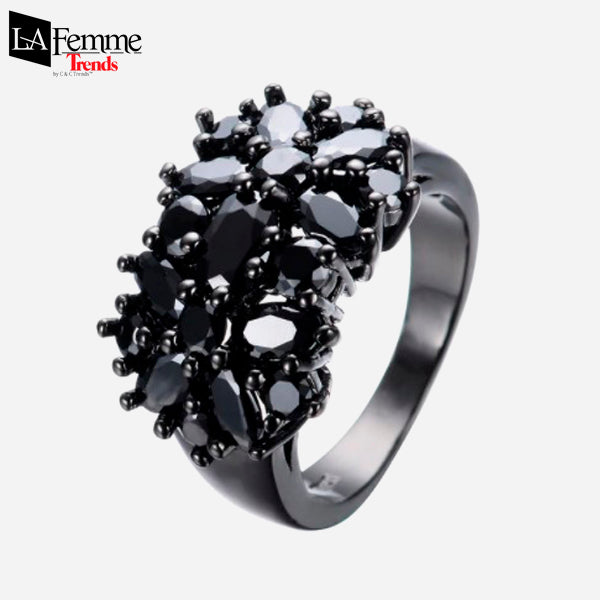 Zircon Bouquet Black Gold Filled Ring 1
