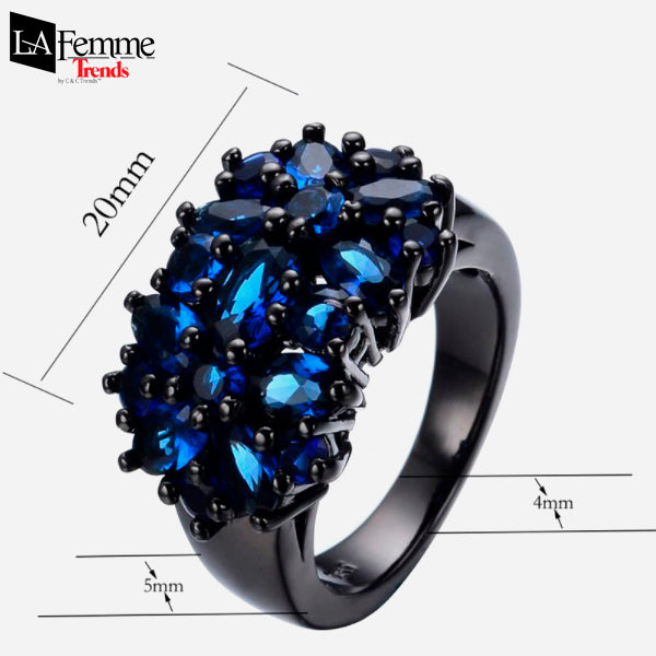 Zircon Bouquet Black Gold Filled Ring 7