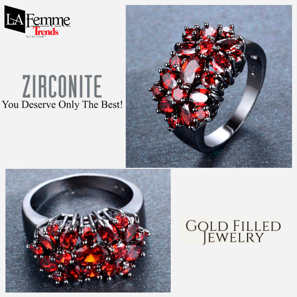 Zircon Bouquet Black Gold Filled Ring 8