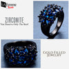Zircon Bouquet Black Gold Filled Ring 9
