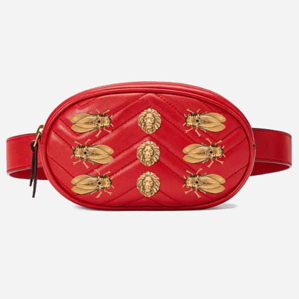 Rounded Belt Bag with Animal Rivets