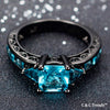 Aquamarine Princess Black Gold Ring