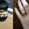Black Epoxy Vintage Cocktail Ring