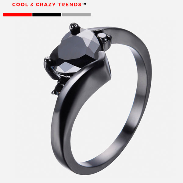 Black Gold Filled Heart Ring