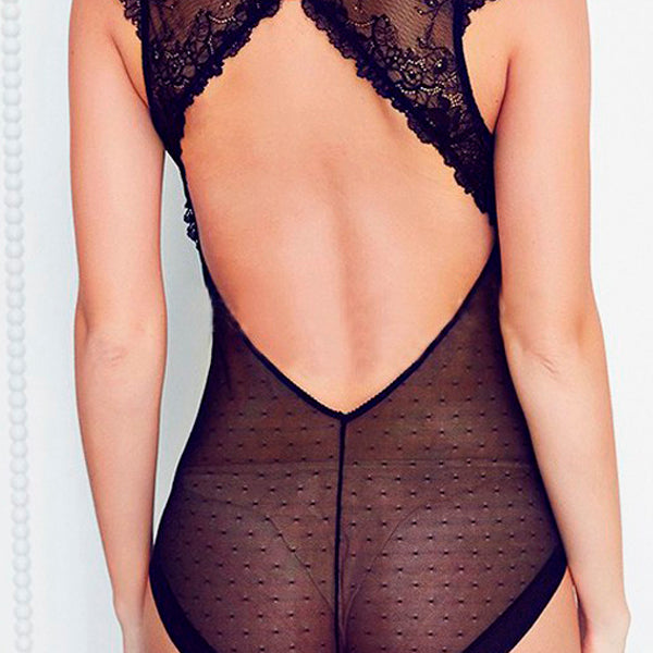 Black Lace V Vest Bodysuit