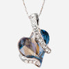 Blue Crystal Heart Necklace with Rhinestones