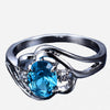 Blue Oval White Gold Filled Ring