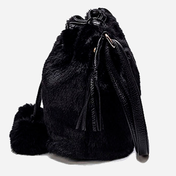 Cute Bucket Fur Shoulder Bag