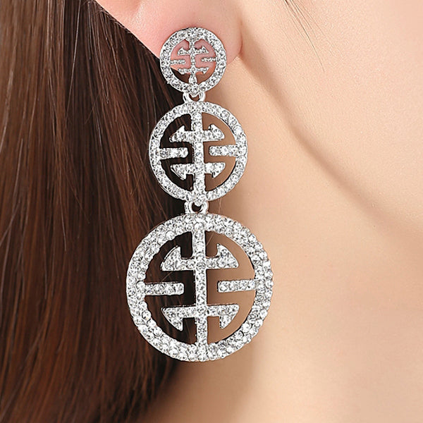 Big Circle Crystal Earrings with Rhinestone