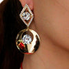 Circular Metal Dangle Earrings with Rhinestones
