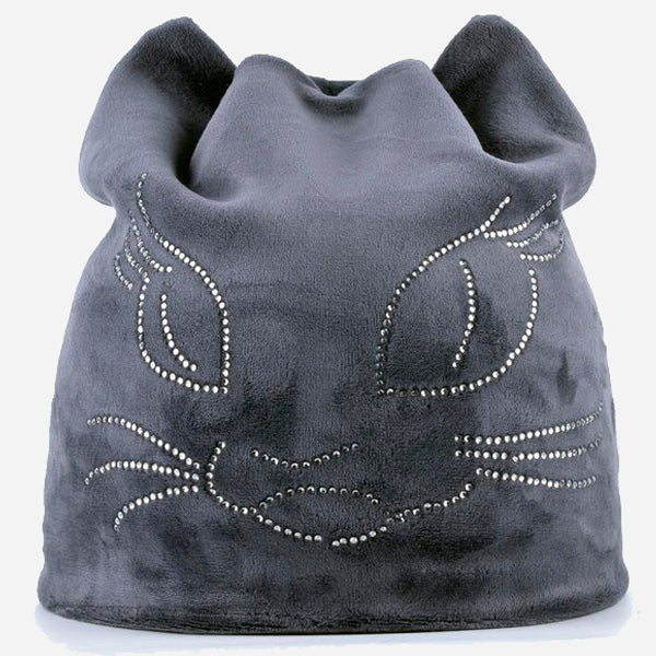 Diamond Cat Velvet Beanie