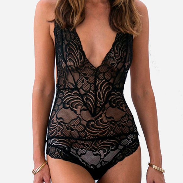Backless Flower Lace Bodysuit