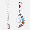 Crystal Half-Moon Suncatcher: 7 Chakras Natural Stone
