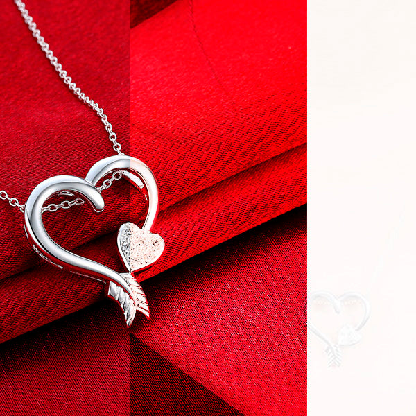 Silver Plated Zircon Heart Pendant Necklace