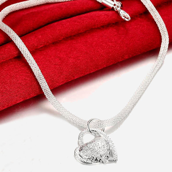 Silver Plated Rope Chain with Heart Pendant