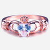 White Zircon Heart Rose Gold Filled Ring