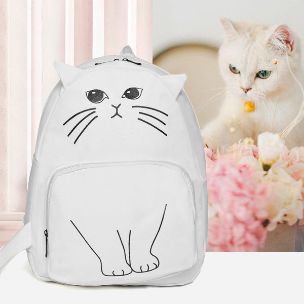 Japanese Cat Canvas School Bag