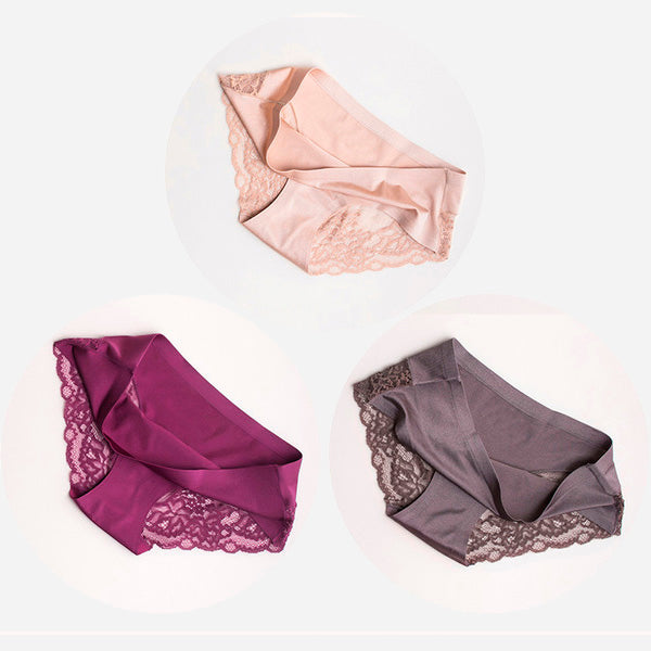 Seamless Lace Ice Silk Panties Pack (3pcs)