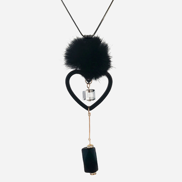 Long Collar with Love Heart and Mink Fur
