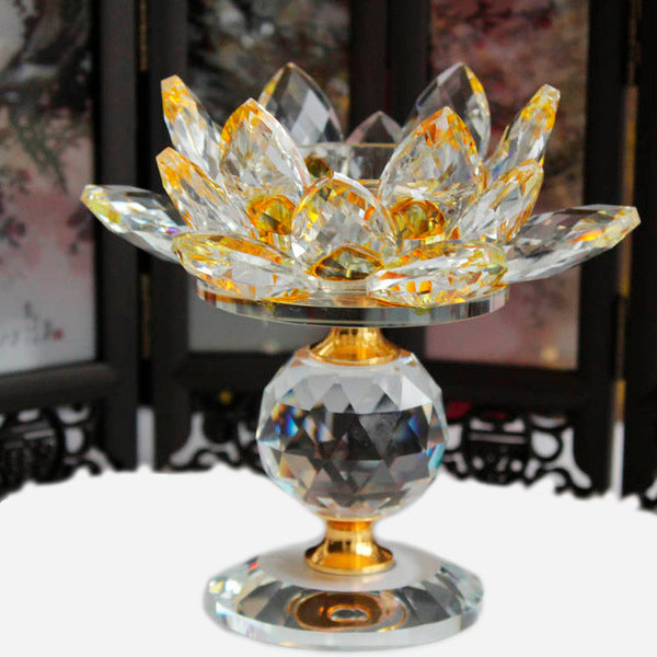 Feng Shui Crystal Lotus Flower  Metal Candle Holders