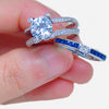 Luxury Blue Zircon Stone Ring Set
