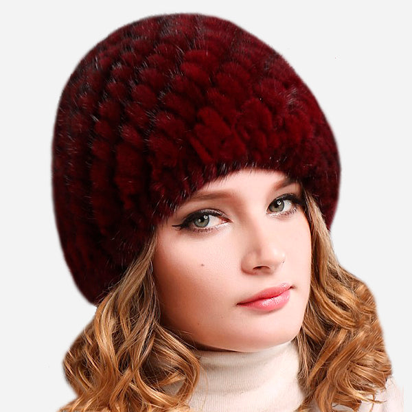 Women Mink Fur Hat Beanie
