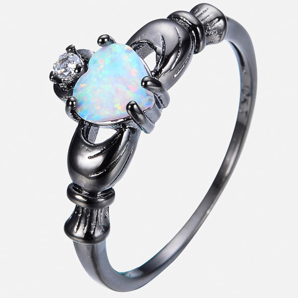 Heart Opal Stylish Black Gold Ring