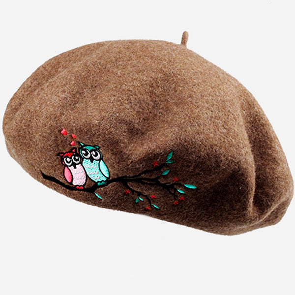 Owl Embroidery Wool Beret