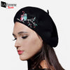 Owl Embroidery Wool Beret 1