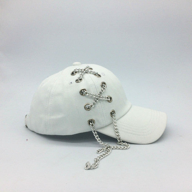 Long Chain Lace Snapback Cap