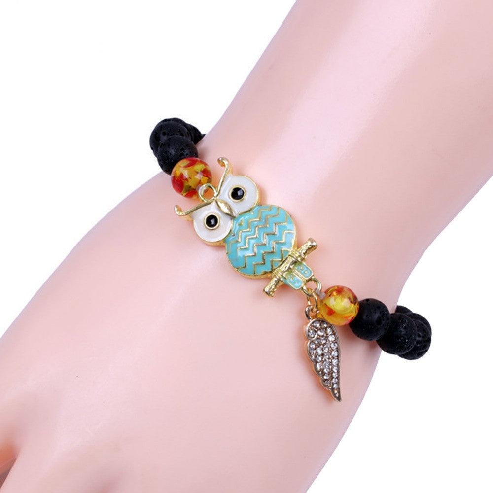 Natural Flame Stone Beaded Owl Bracelet