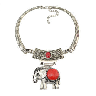 Elephant Natural Stone Silver Choker