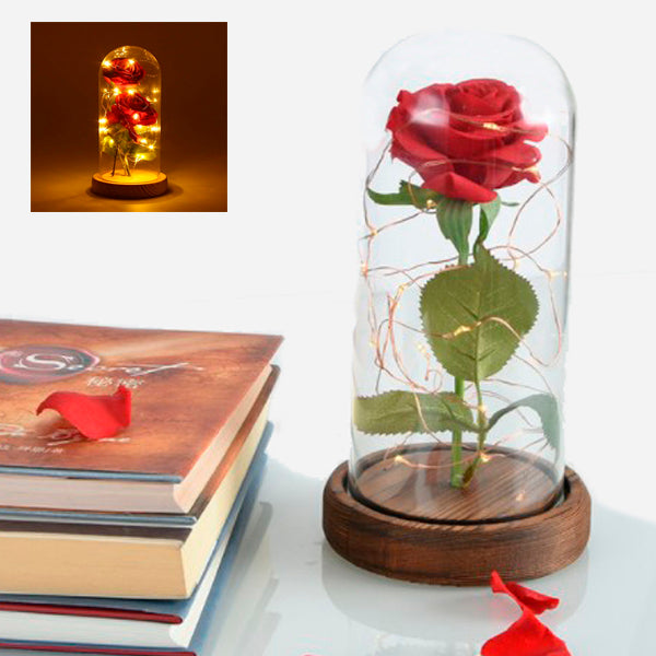 Beauty and Beast: Red Silk Rose with Led light