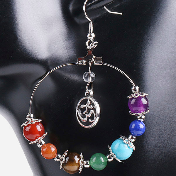 Tree of Life Bohemian Earrings: 7 Chakras Stone Beads