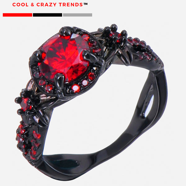Red Mottle Crystal Black Gold Ring