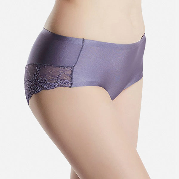 Seamless Lace Satin Silk Panty