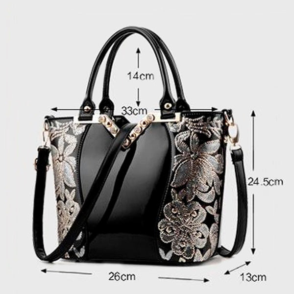 Luxury Sequined Patent Leather Tote