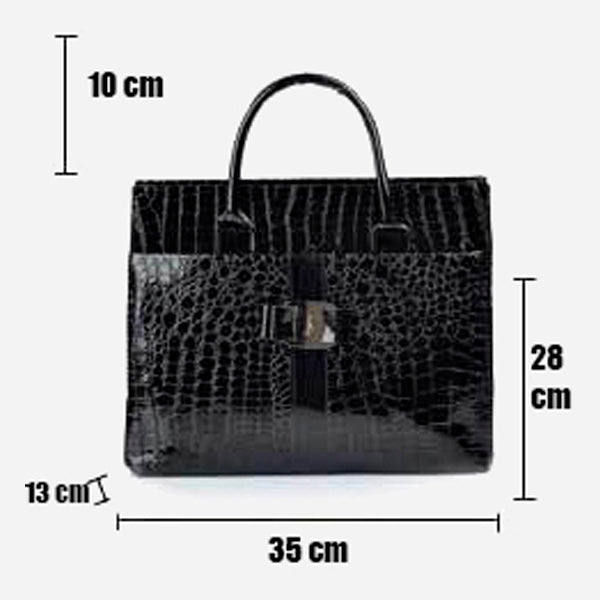 Snake Skin Patent Leather Satchel Bag