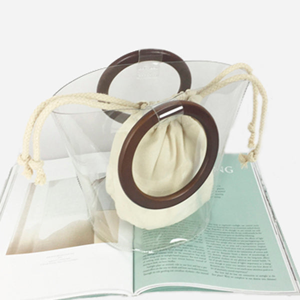 Transparent Bucket Bag with Wooden Handles