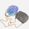 Sequin Transparent Chain Mini Round Bag