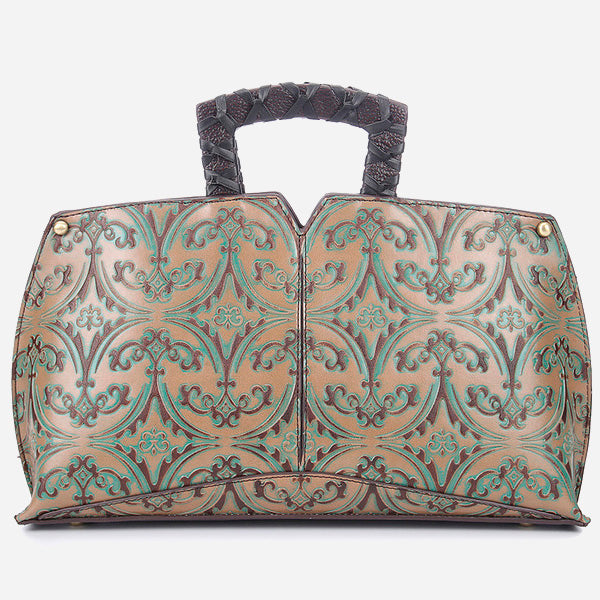 Floral Vintage Genuine Leather Hobos Bag
