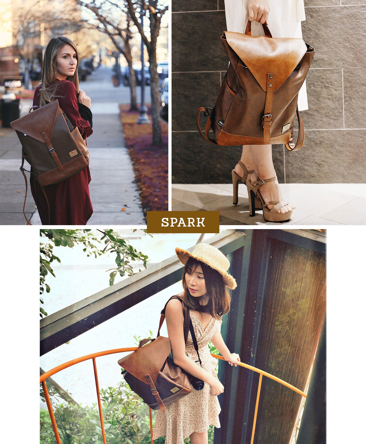 Spark Vintage Leather Backpack Lookbook